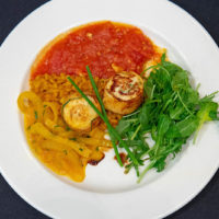 Runner Up - Cuyuna Regional Medical Center & Heartwood Senior Living Faux Bacon Wrapped Scallop Mousse with orange scented Farro, Saffron Braised Fennel, Garlic Tomatoes and Arugula